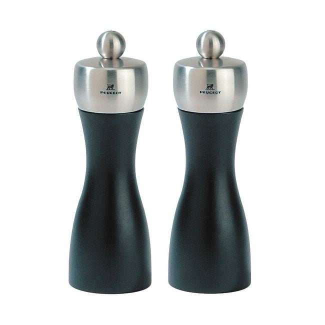 Peugeot Fidji Black Matte Pepper & Salt Mill Set 15cm/6""
