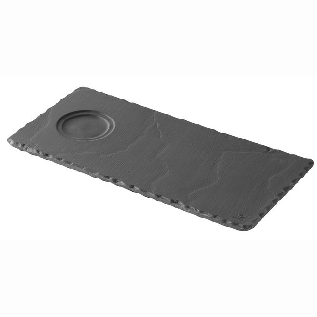 "Revol Basalt Rectangular Tray with Indent for Espresso & Cappuccino - 9.75"" x 4.75"" x 0.25"" - Slate"
