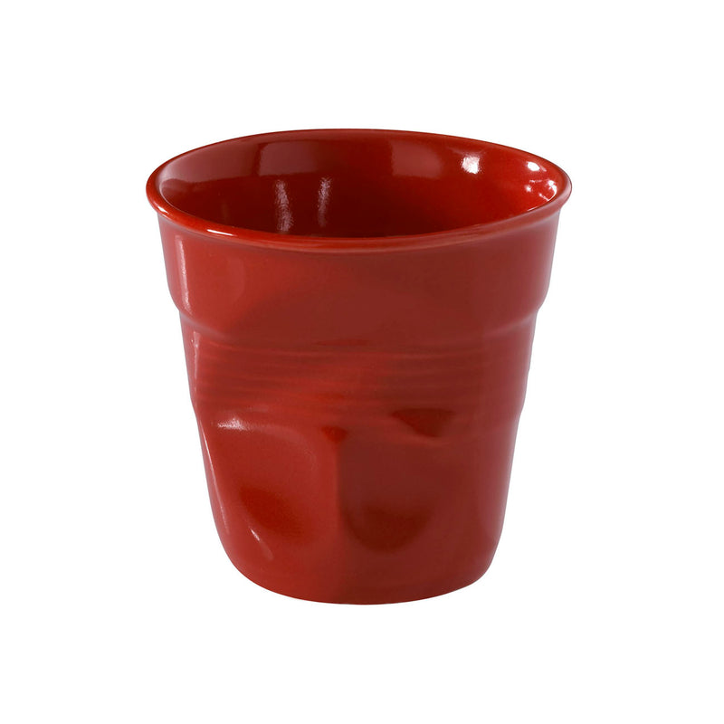 Revol Froisses - 6 1/4 oz. Cappuccino Crumpled Tumbler - Pepper Red