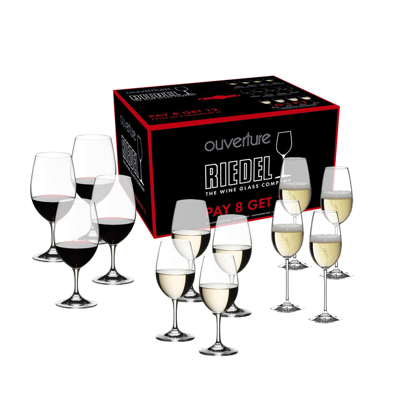 Riedel Ouverture Red/White Magnum and Champagne Pay 8 Get 12 Glasses - Set of 12