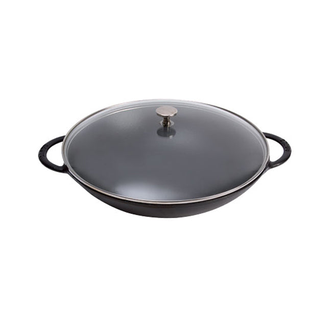 "Staub Wok - 14"" Black Matte with Glass Lid"