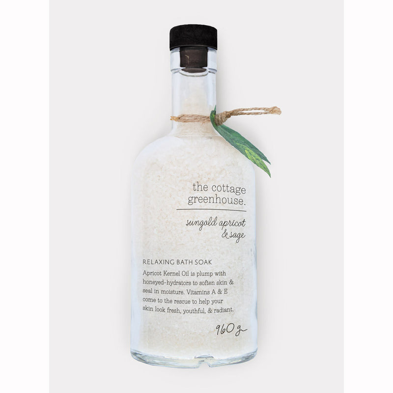 The Cottage Greenhouse 33 oz Sungold Apricot & Sage Relaxing Bath Soak