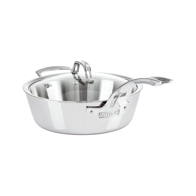Viking Contemporary 3-Ply - 3.6 Qt. Saute Pan w/Lid + Helper Handle - Mirror Finish
