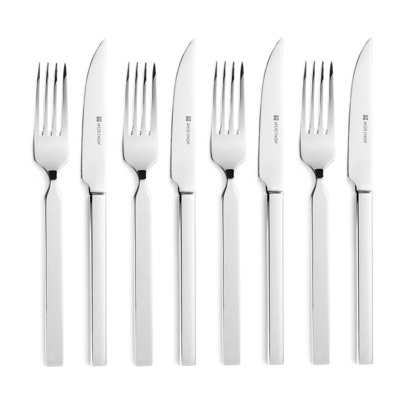 Wusthof 8 Pc. Stainless Steak Knife and Fork Set