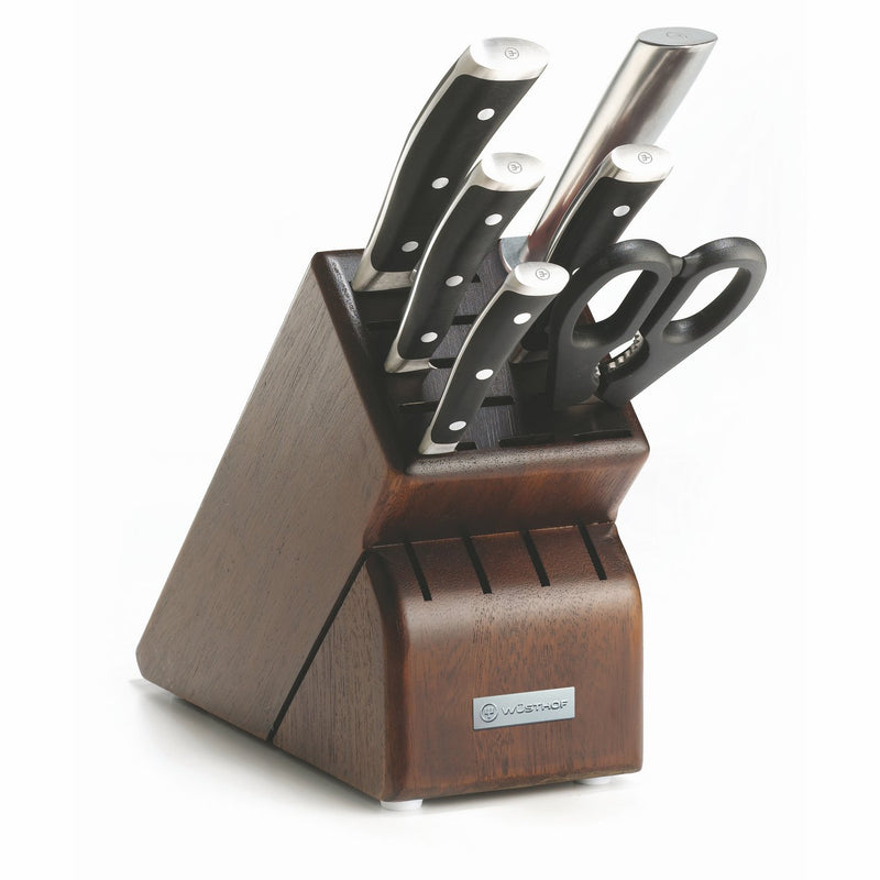 Wusthof Classic Ikon - 7 Pc. Knife Block Set w/Walnut Block - Personalized Engraving of Chef's Knife and Brushed Stainless Steel Faceplate for Block Available