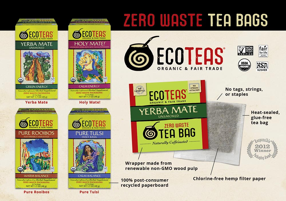 EcoTeas zero waste tea bags feature chlorine-free hemp filter paper; no tags, strings, or staples; heat-sealed, glue-free tea bag; wrapper of renewable non-GMO wood pulp; boxes of 100% post-consumer recycled paperboard