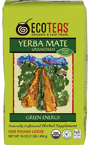 Yerba Mate unsmoked pure leaf organic loose tea in one pound bag
