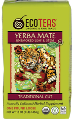 Yerba Mate unsmoked leaf and stem traditional cut organic loose tea in one pound bag