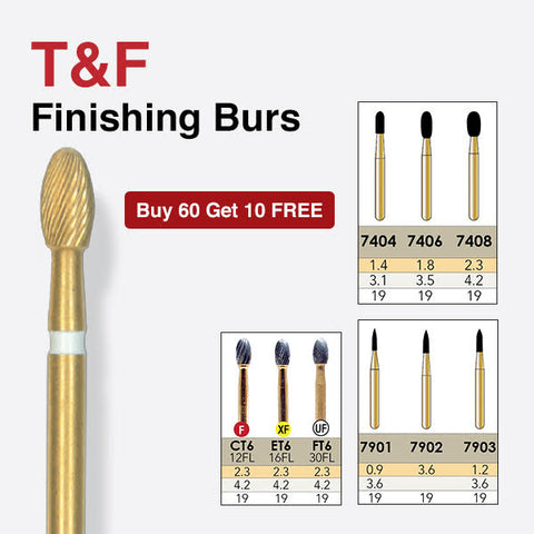 7406   10-Pk  Multi use Trimming & Finishing Burs. Football (Egg) Shaped