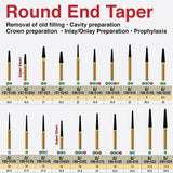 G/198-022 | (856)  10-Pk , Multi use Gold Diamond Burs (Round End Taper Shaped)