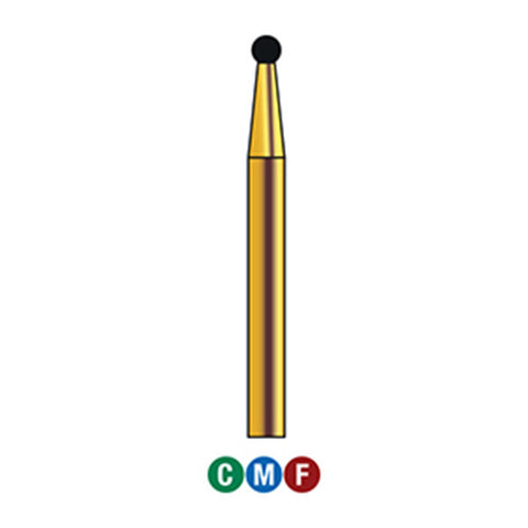 G/001-014 (801) 10-Pk , Multi use Gold Diamond Burs Round (Ball) Shaped