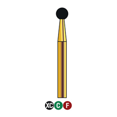G/001-024S (801) 10-Pk , Multi use Gold Diamond Burs Round (Ball) Shaped