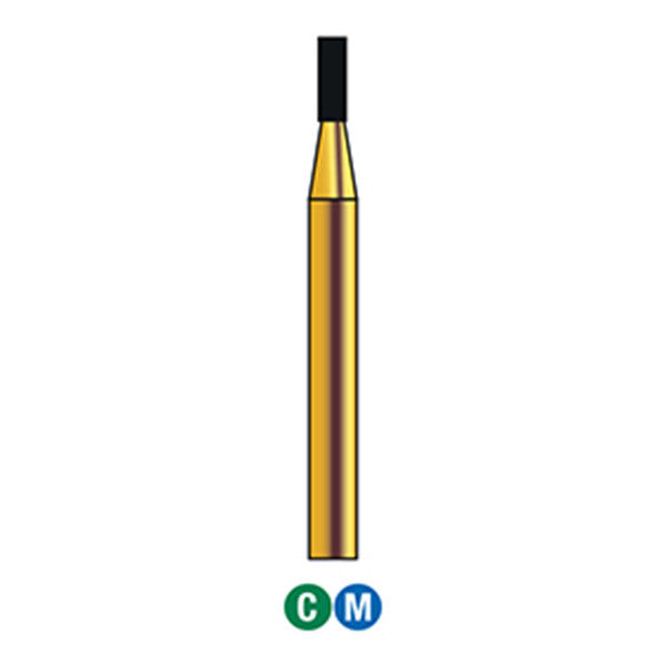G/108-009 | Reusable Gold Diamond Burs Flat End Cylinder Shaped