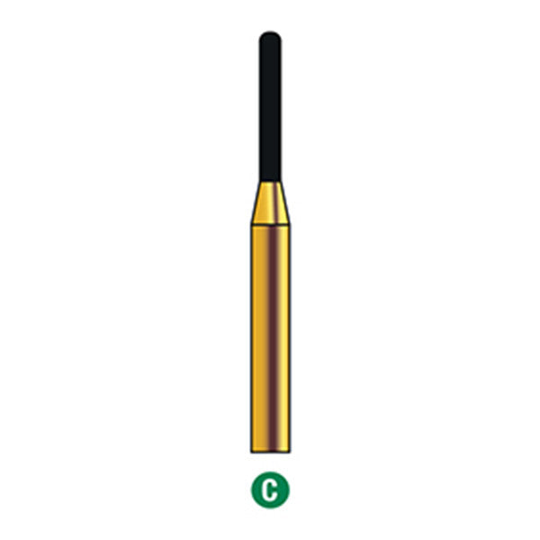 G/140-010S (880) Reusable Gold Diamond Burs Round End Cylinder Shaped