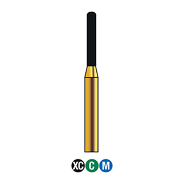 G/140-012S (880) 10-Pk , Multi use Gold Diamond Burs Round End Cylinder Shaped