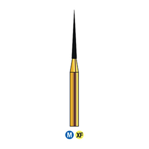 G/166-010  (859) 10-Pk , Multi use Gold Diamond Bur. Needle Taper shaped