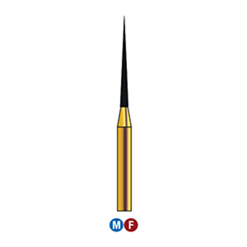 G/167-010  (859) 10-Pk , Multi use Gold Diamond Burs Needle Taper Shaped