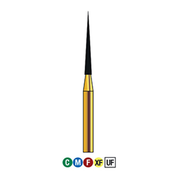 G/167-012 (859) 10-Pk , Multi use Gold Diamond Bur Needle Taper Shaped