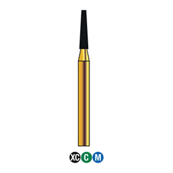 G/171-014 (846) 10-Pk , Multi use Gold Diamond Burs Flat End Taper Shaped