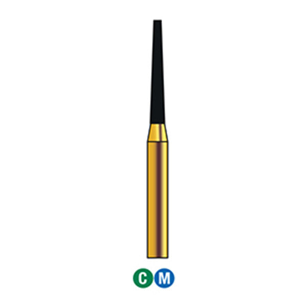 G/172-013S (847) 10-Pk , Multi use Gold Diamond Burs Flat End Taper Shaped