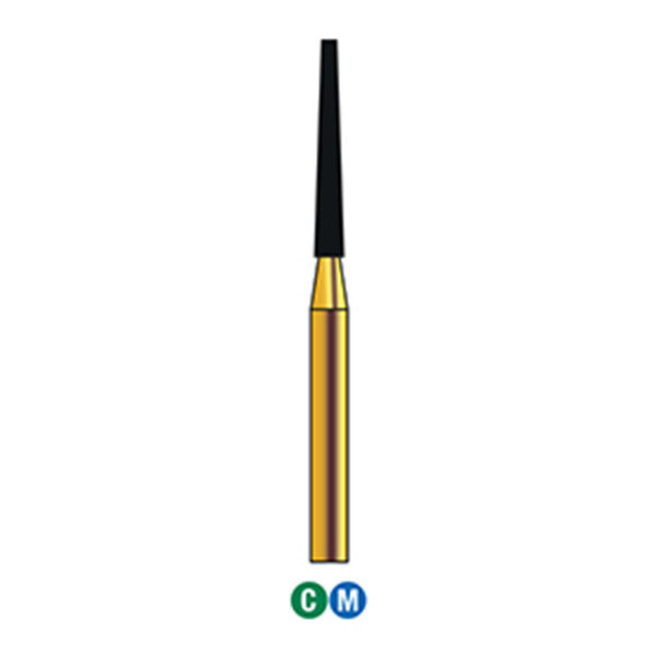 G/173-014 (848) 10-Pk , Multi use Gold Diamond Burs Flat end Taper Shaped