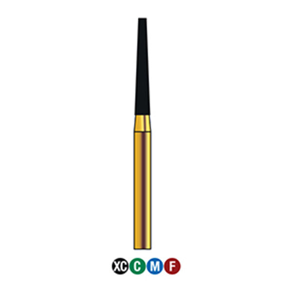 G/173-016L (848) Reusable Gold Diamond Burs (Flat end Taper Shaped)
