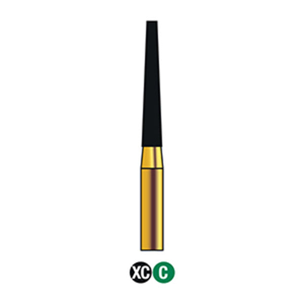 G/173-016SH (848) SUPER SHORT SHANK Reusable Gold Diamond Burs Flat end Taper Shaped