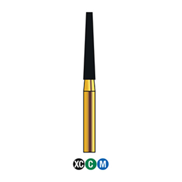 G/173-018S (848) Reusable Gold Diamond Burs (Flat end Taper Shaped)