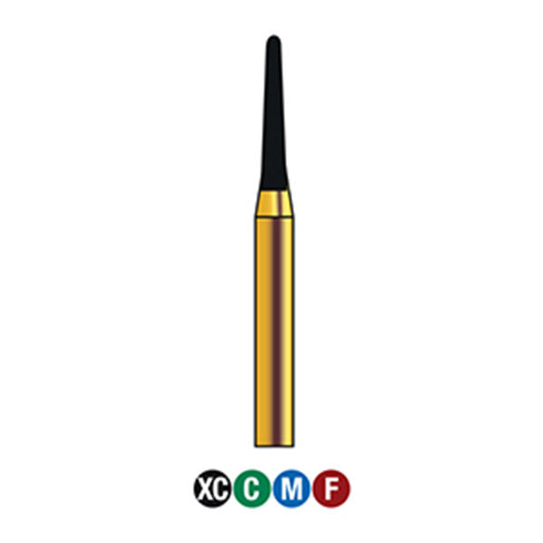 G/197-012S (855)  10-Pk , Multi use Gold Diamond Burs (Round End Taper Shaped)