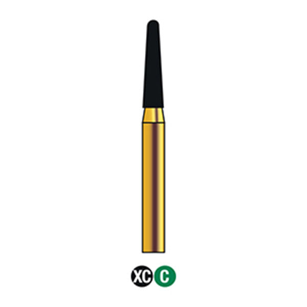 G/197-018S | (855)  10-Pk , Multi use Gold Diamond Burs (Round End Taper Shaped), SUPER SHORT