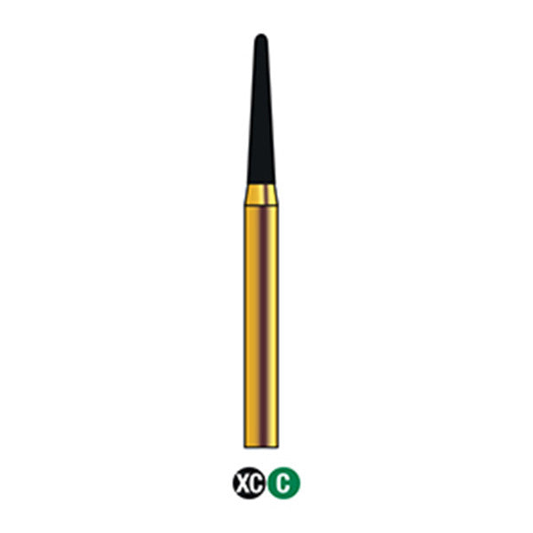 G/198-015 | (856)  10-Pk , Multi use Gold Diamond Burs (Round End Taper Shaped)