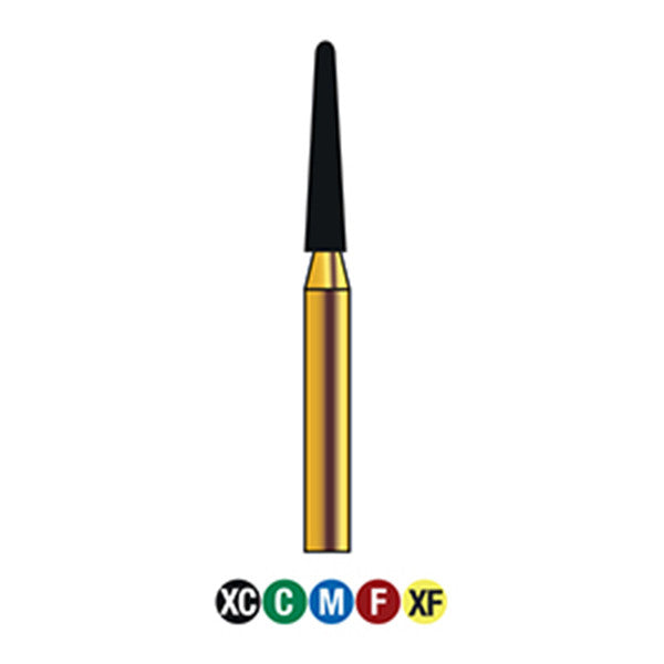 G/198-016S | (856)  10-Pk , Multi use Gold Diamond Burs (Round End Taper Shaped)