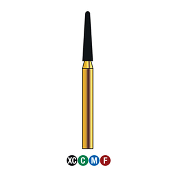 G/198-017 | (856)  10-Pk , Multi use Gold Diamond Burs (Round End Taper Shaped)