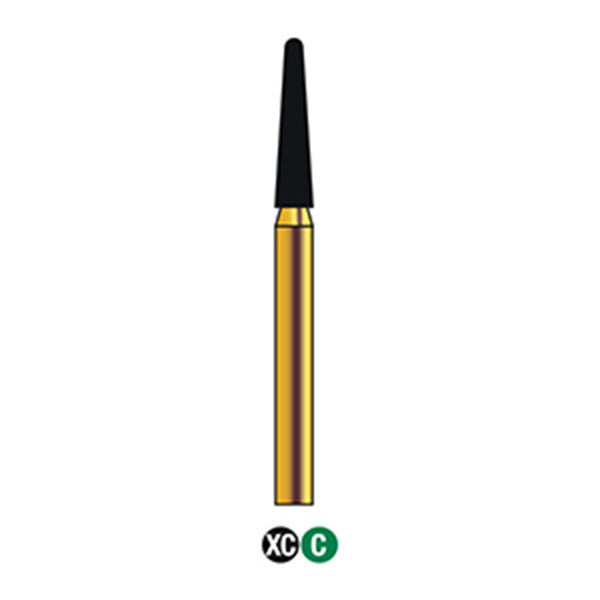 G/198-018 | (856)  10-Pk , Multi use Gold Diamond Burs (Round End Taper Shaped)