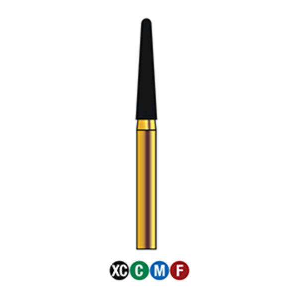 G/198-019S | (856)  10-Pk , Multi use Gold Diamond Burs (Round End Taper Shaped)