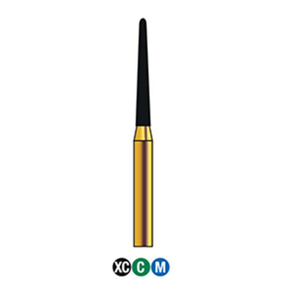 G/199-014S | (850)  10-Pk , Multi use Gold Diamond Burs (Round End Taper Shaped)
