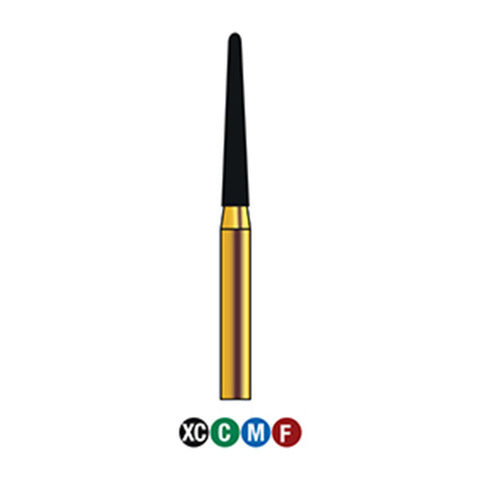 G/199-016S  (850)  10-Pk , Multi use Gold Diamond Burs (Round End Taper Shaped)