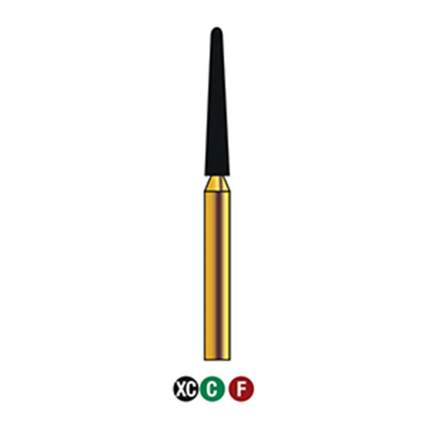 G/199-017S  (850)  10-Pk , Multi use Gold Diamond Burs Round End Taper Shaped