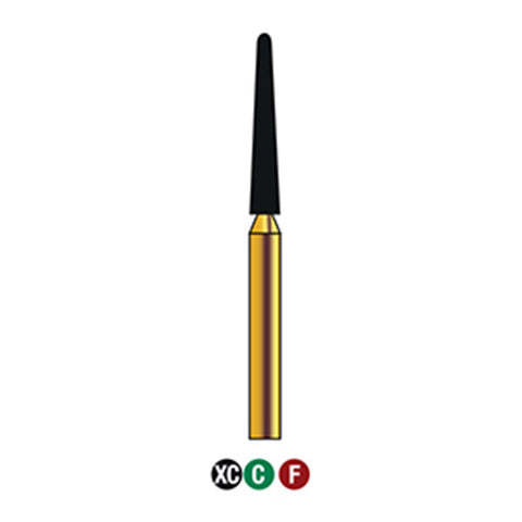 G/199-017S  (850) Reusable Gold Diamond Burs Round End Taper Shaped