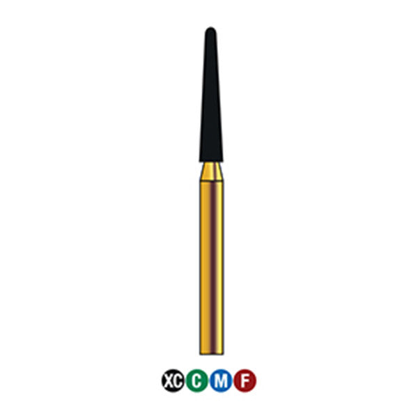 G/199-018 (850)  10-Pk , Multi use Gold Diamond Burs (Round End Taper Shaped)