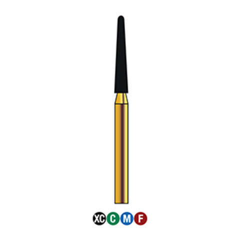 G/199-018 (850) Reusable Gold Diamond Burs (Round End Taper Shaped)