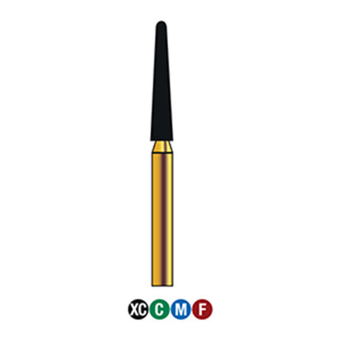G/199-019S  (850)  10-Pk , Multi use Gold Diamond Burs (Round End Taper Shaped)