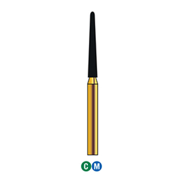 G/200-016  (850L)  10-Pk , Multi use Gold Diamond Burs (Round End Taper Shaped)