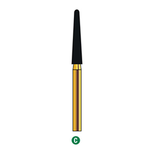 G/200-022 (850L) Reusable Gold Diamond Burs (Round End Taper Shaped)