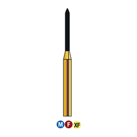 G/290-010 (879) 10-Pk , Multi use Gold Diamond Burs Torpedo Shaped