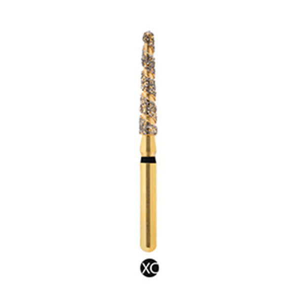 H/199-016S | (H850) Reusable Gold Diamond Burs Spiral Shaped