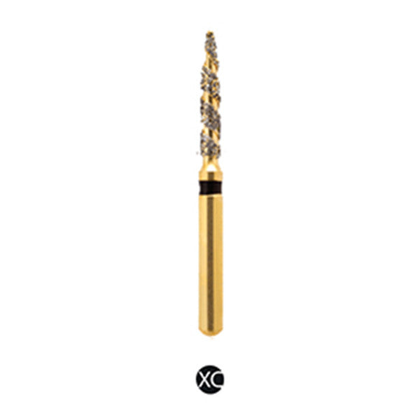 H/249-012S | (H862) Reusable Gold Diamond Burs. Spiral Shaped