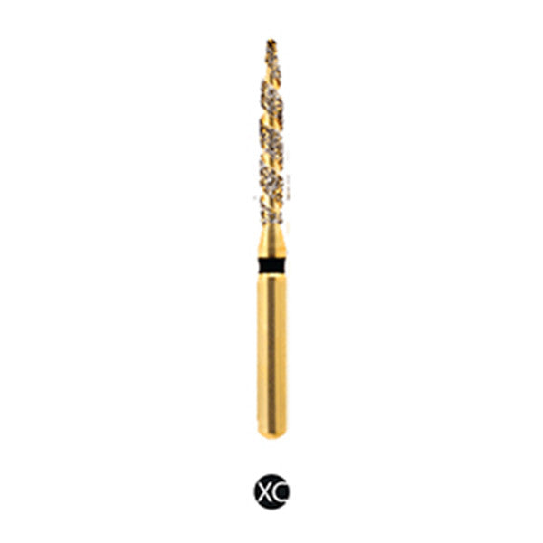 H/250-012S | (H863) Reusable Gold Diamond Burs. Spiral Shaped