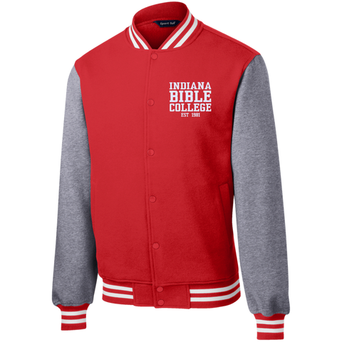 Image of IBC - Fleece Letterman Jacket - Clean Text Design - Kick Merch - 7