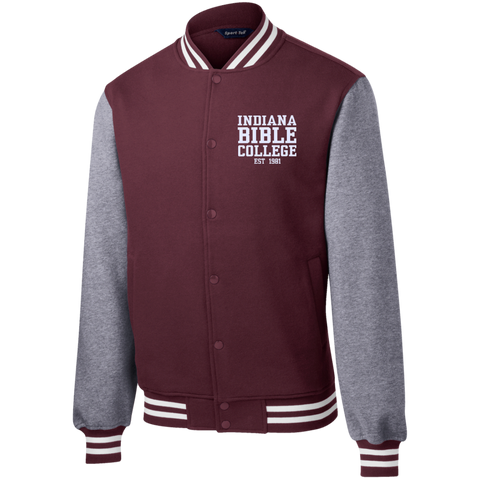 Image of IBC - Fleece Letterman Jacket - Clean Text Design - Kick Merch - 4